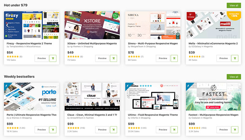 Magento ThemeForest theme designs