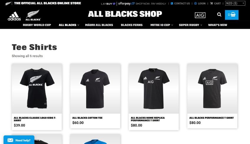 All Blacks WordPress shop