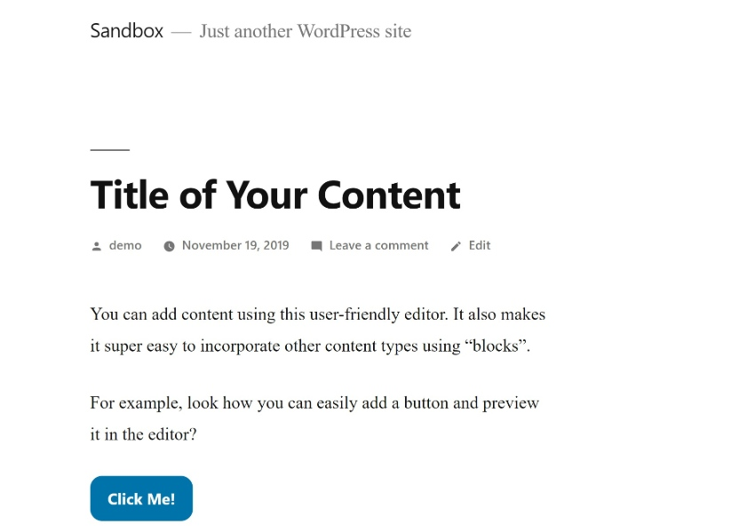 WordPress content on front-end
