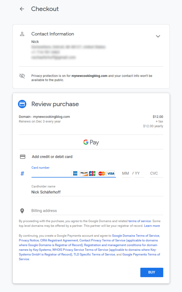 google domains contact and payment