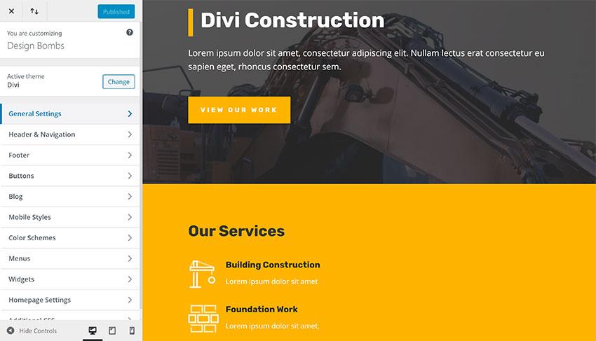 Divi WordPress Theme Customiser