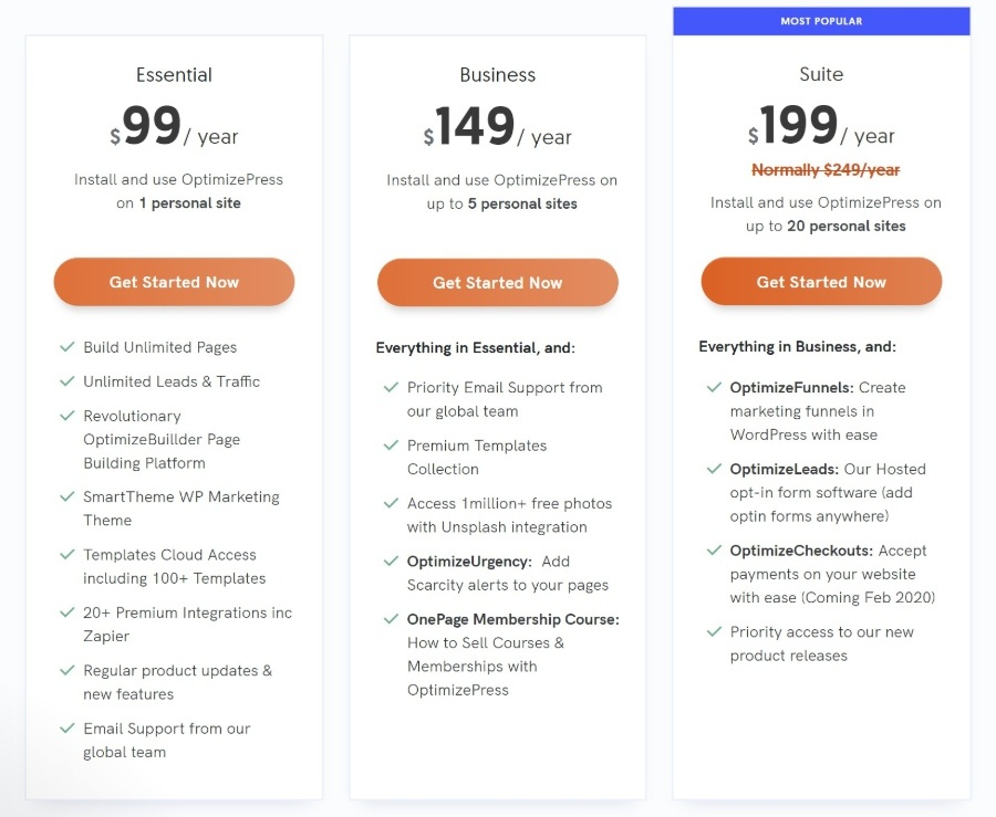 OptimizePress 3 Review of pricing