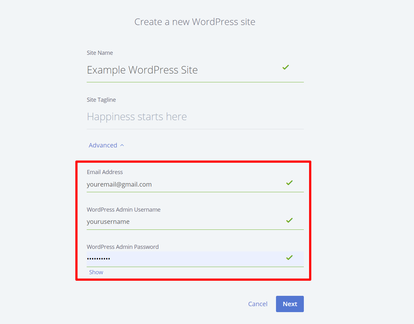 An example of where you choose your WordPress account credentials