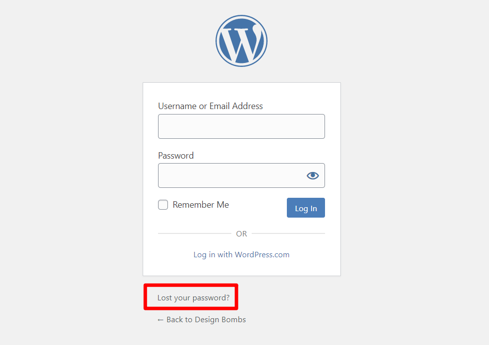 The password reset link on the WordPress login URL page