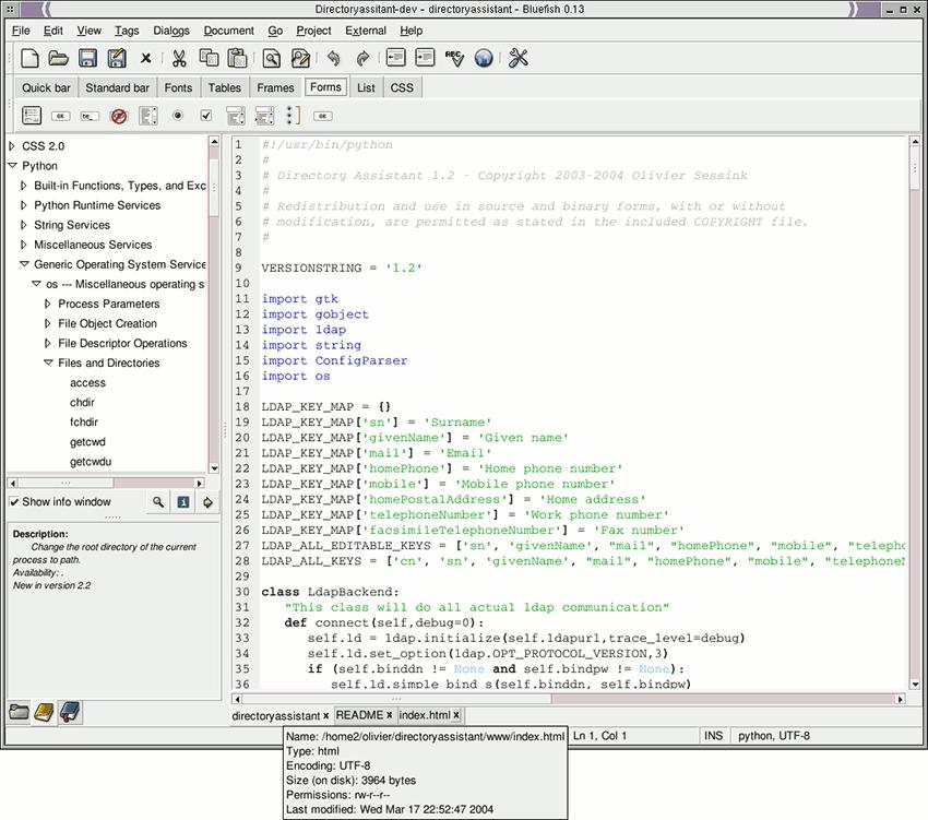 Bluefish Text Editor