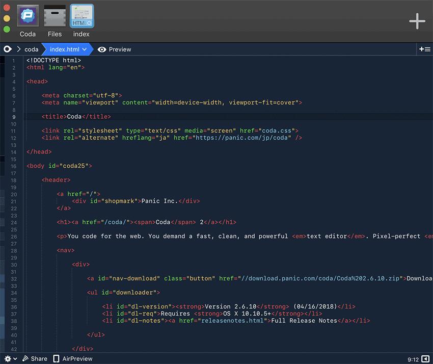 Coda Text Editor