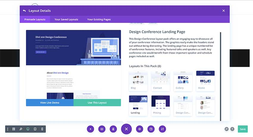 Design Conference Layout Pack in Divi