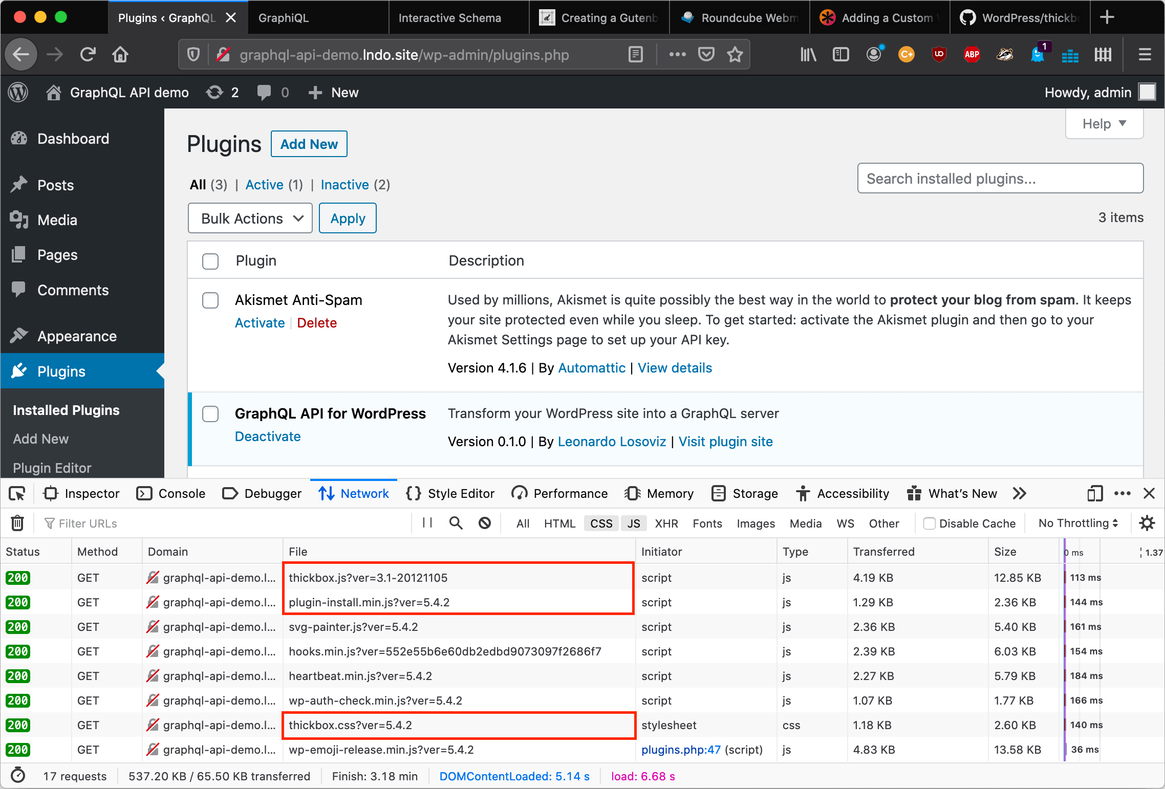 Loaded assets in the plugins page