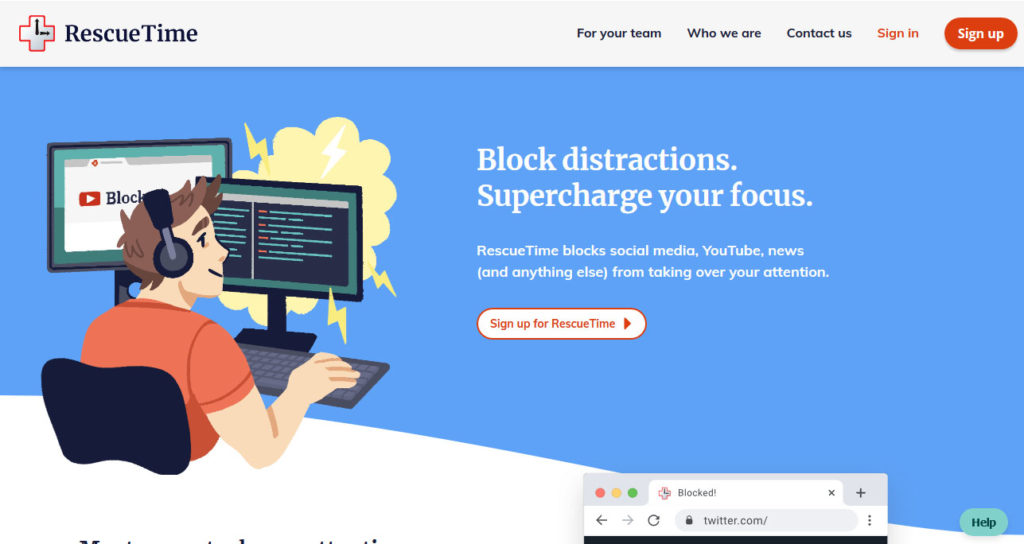 use rescuetime to block distracting websites