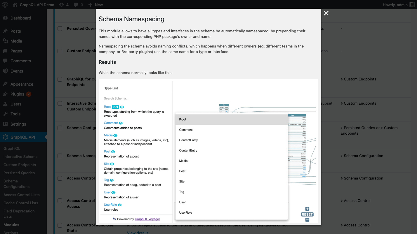 Showing documentation from the custom plugin in a modal window