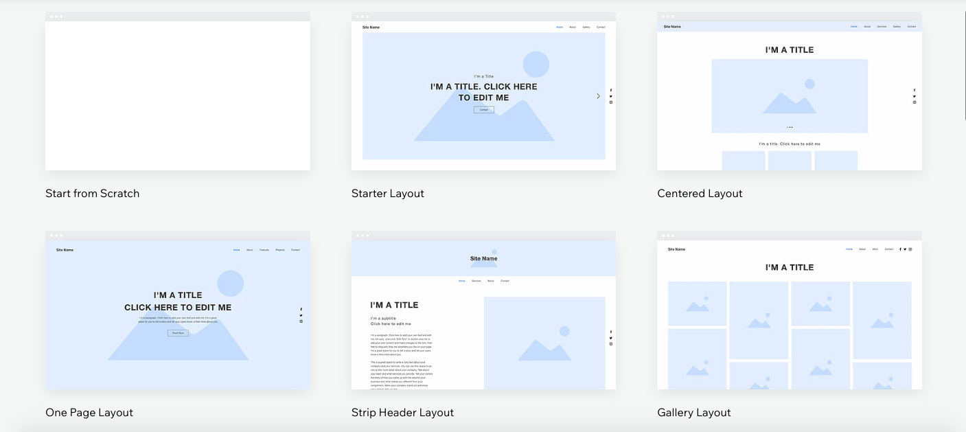 Wix blank templates