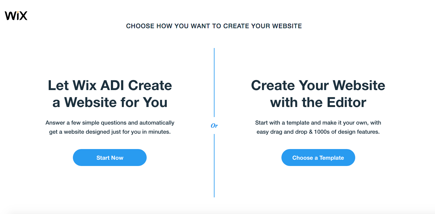 options for creating a site with Wix