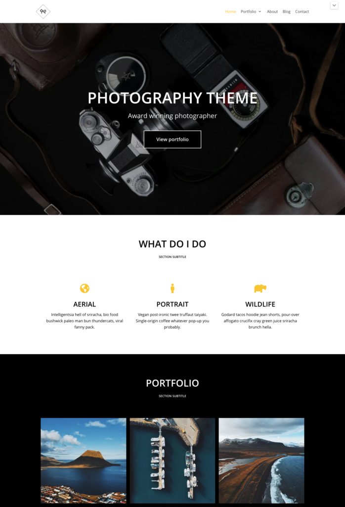 Neve photography theme