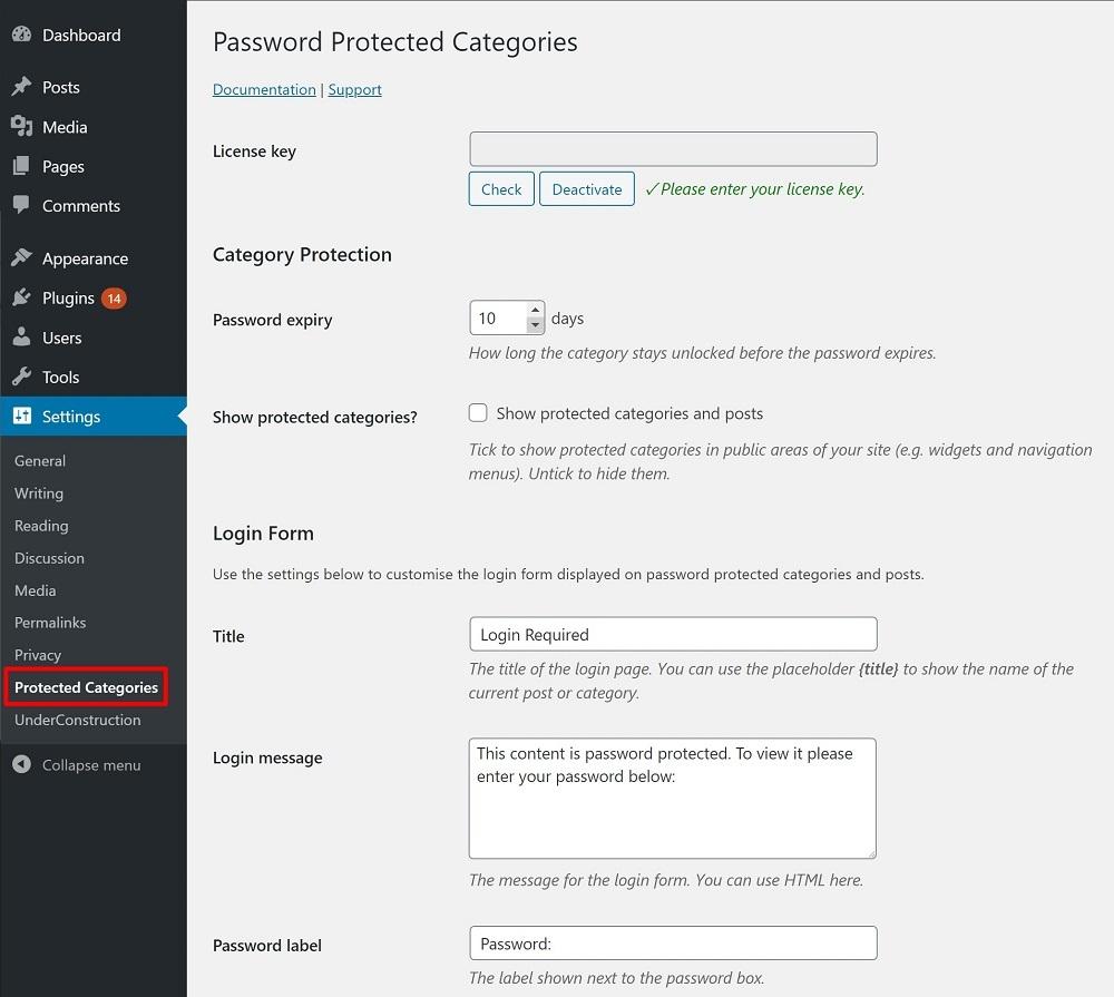 WordPress Password Protected Categories