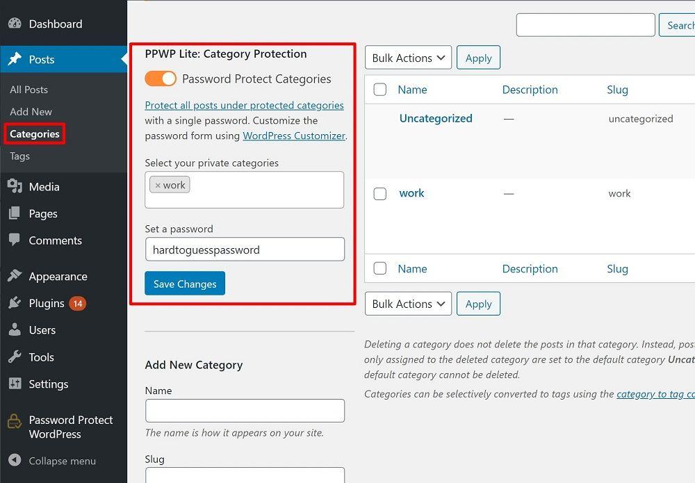 Password Protect WordPress categories