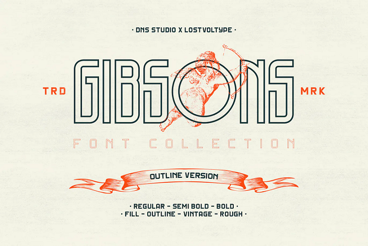 gibsons outline font