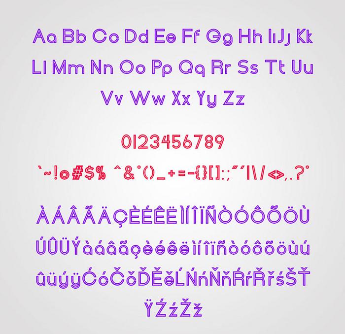 Henerale outline font