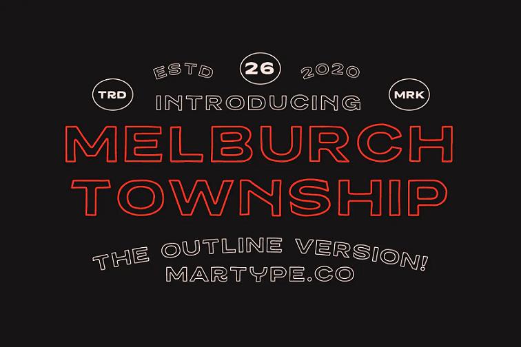 Melburch outline font