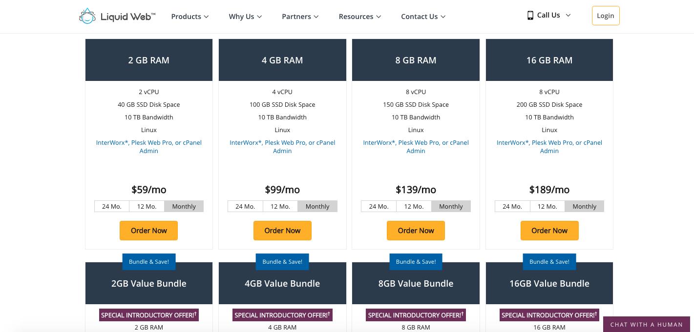 Liquidweb VPS hosting plans