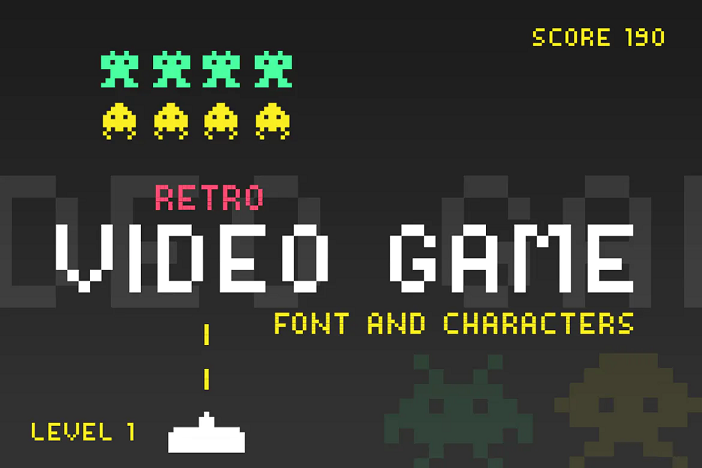 Retro video game YouTube font