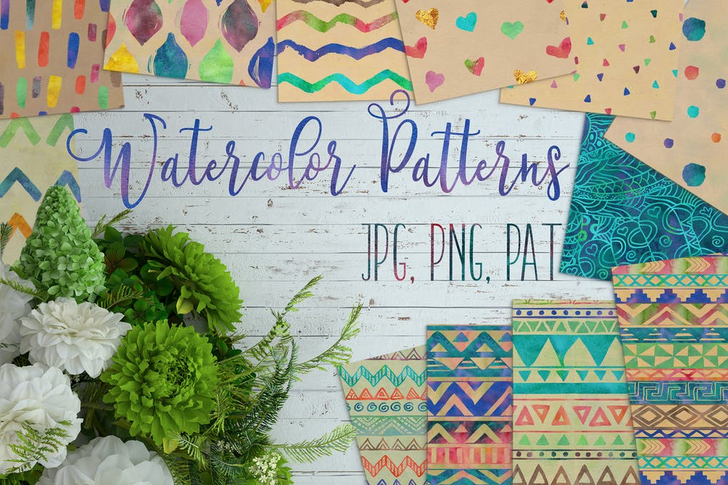 12 watercolor patterns
