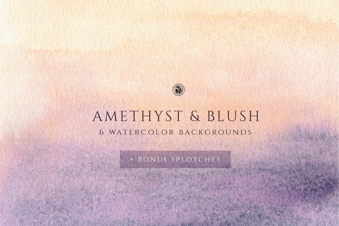 Amethyst and blush watercolor backgrounds
