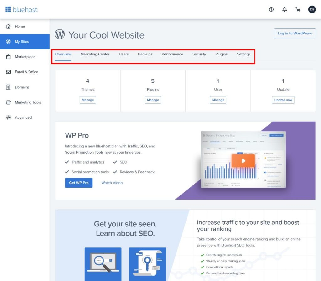 Bluehost site dashboard