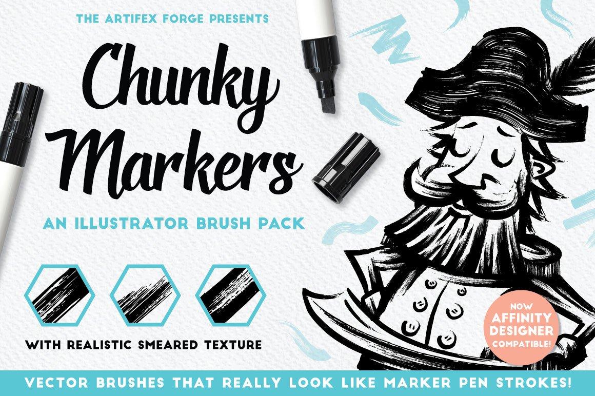 Chunky markers Illustrator brush pack