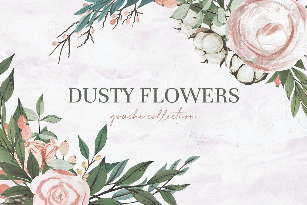 dusty flowers gouache collection