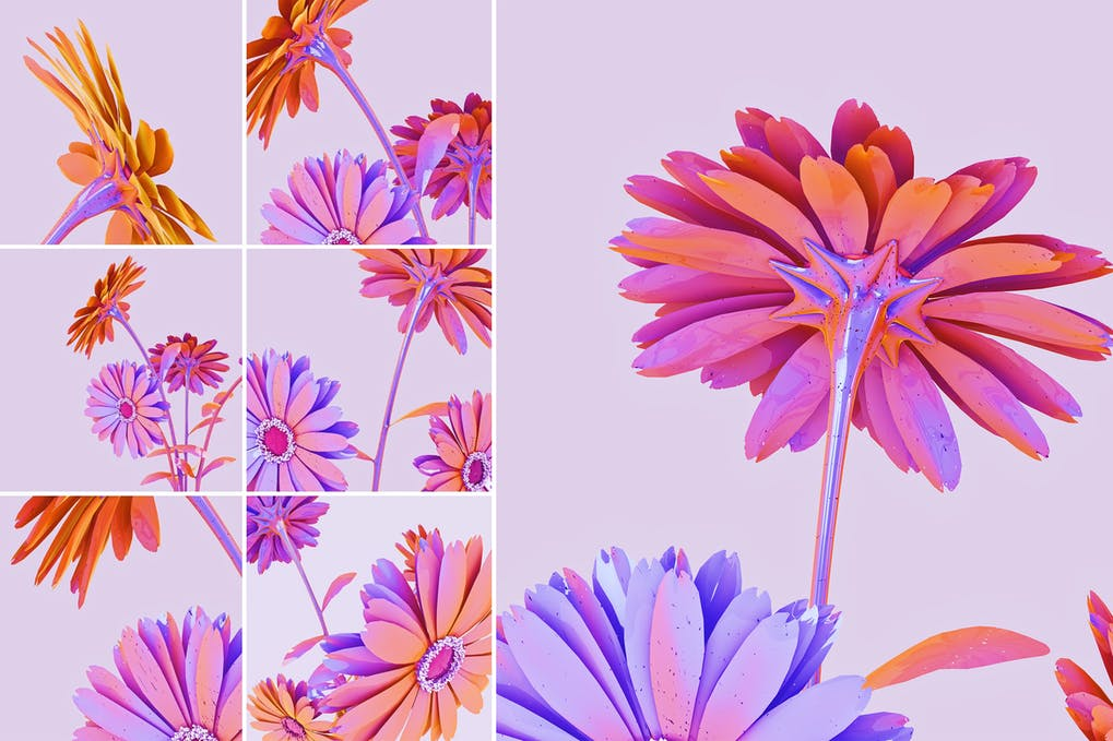 Holographic flowers abstract background