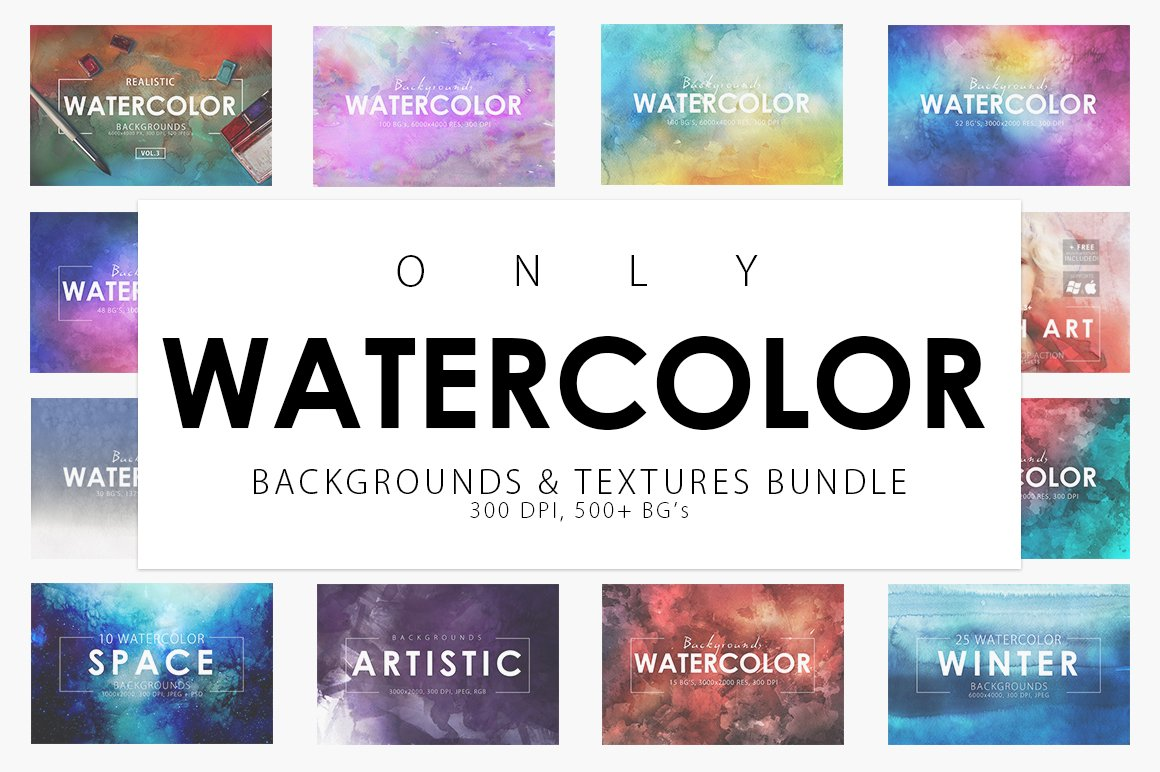 Only watercolor background bundle