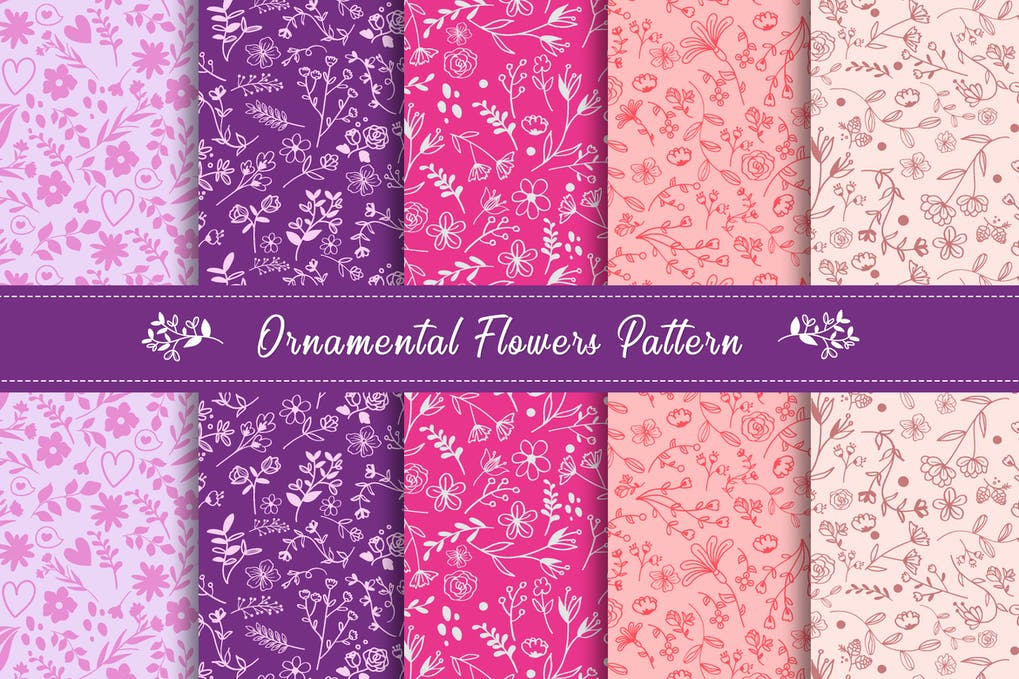 Ornamental flowers pattern collection