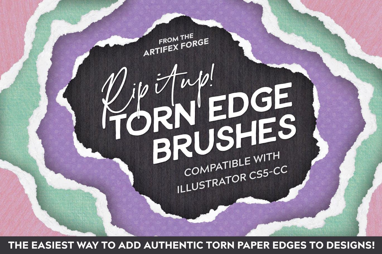 Torn paper edge brushes