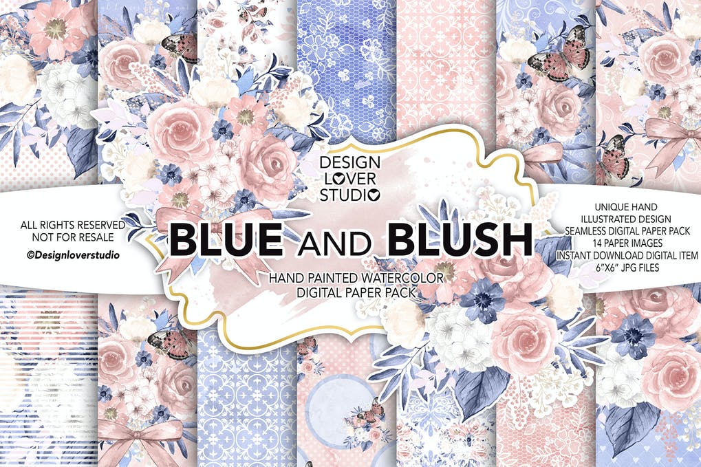 watercolor blue and blush digital paper pack