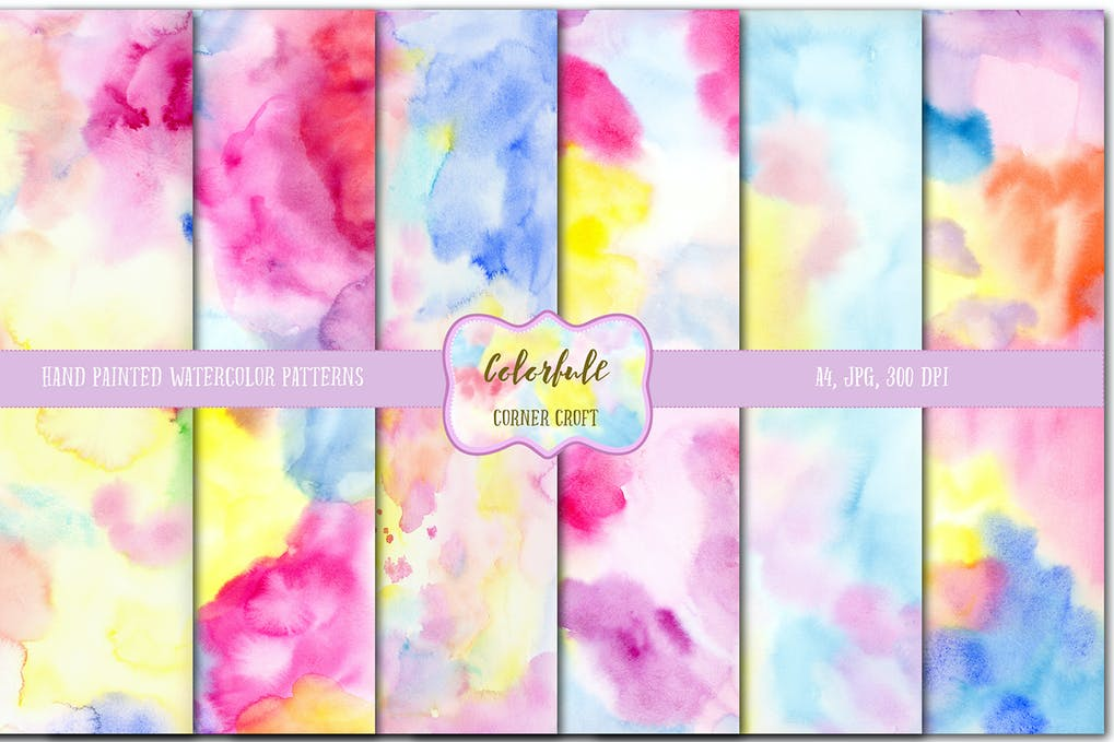 Watercolor colorful textures