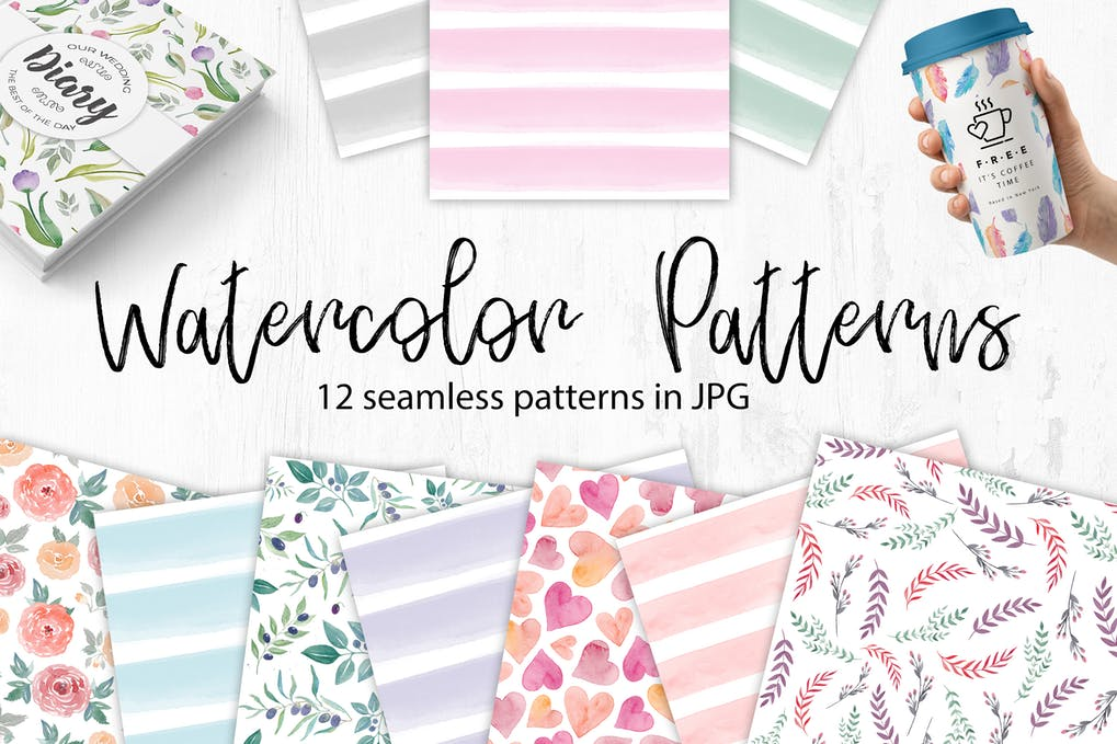 Watercolor seamless patterns - florals and stripes