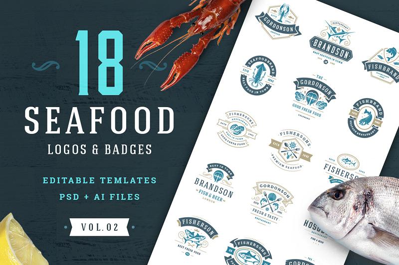 seafood photoshop logo template