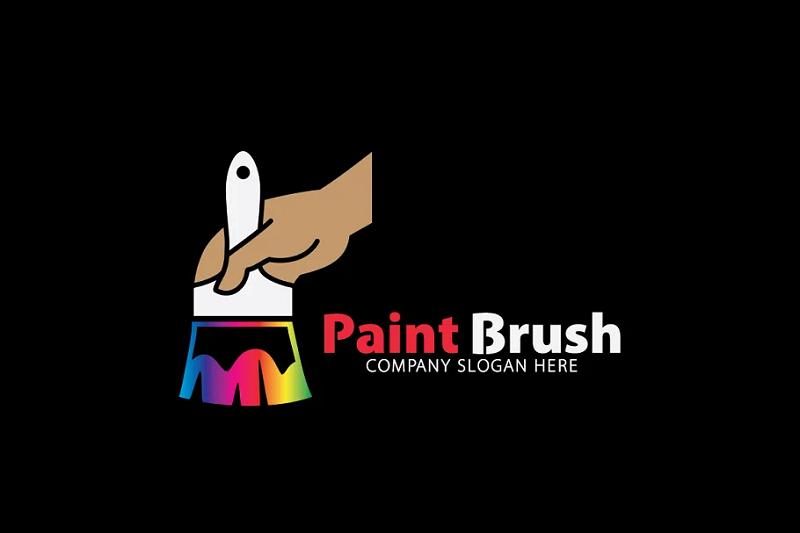 Paintbrush photoshop logo template