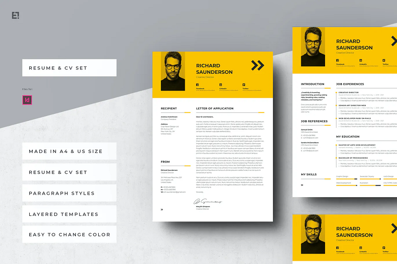 2 page yellow CV template
