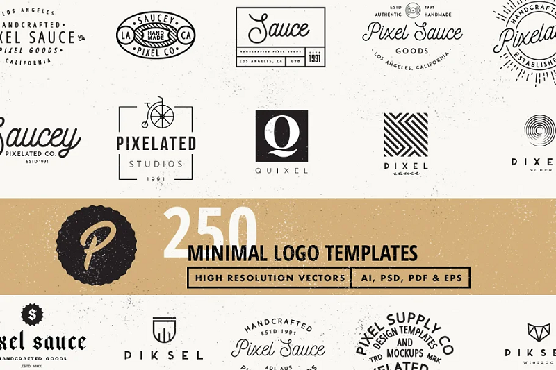 Minimal photoshop logo template