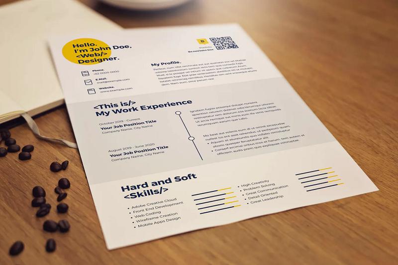 Professional yellow CV template