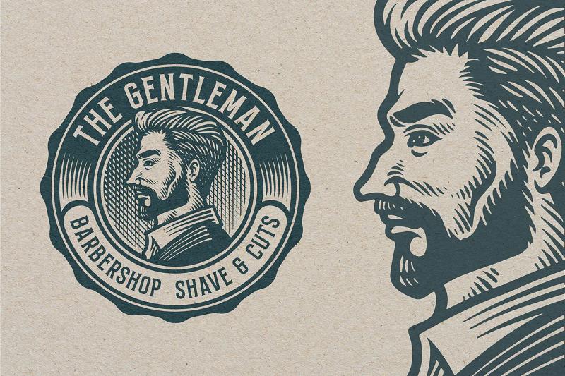 Barbershop photoshop logo template