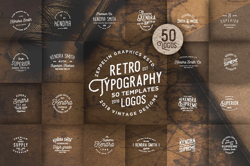 Vintage Typography photoshop logo templates