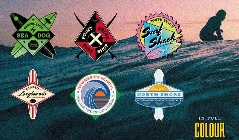 Vintage surf photoshop logo template