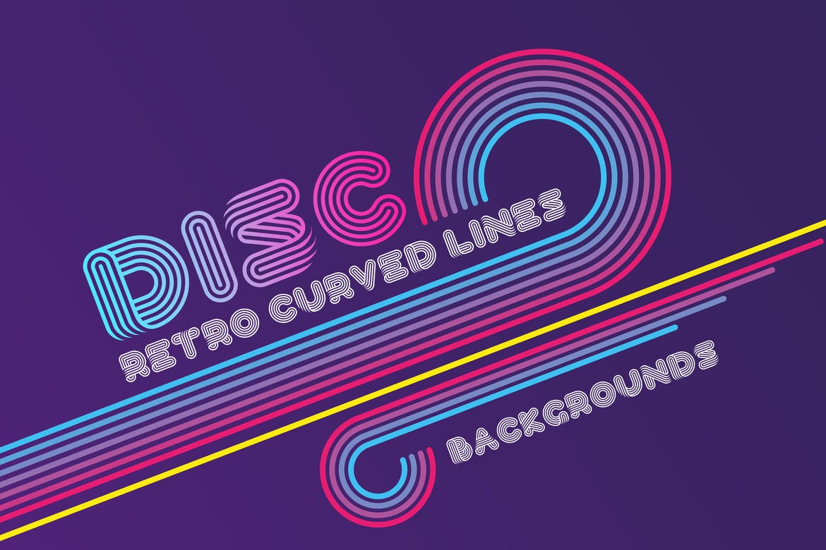 Disco retro curved lines backgrounds