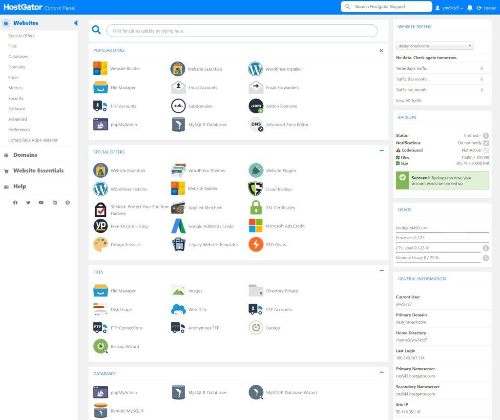 HostGator cPanel dashboard