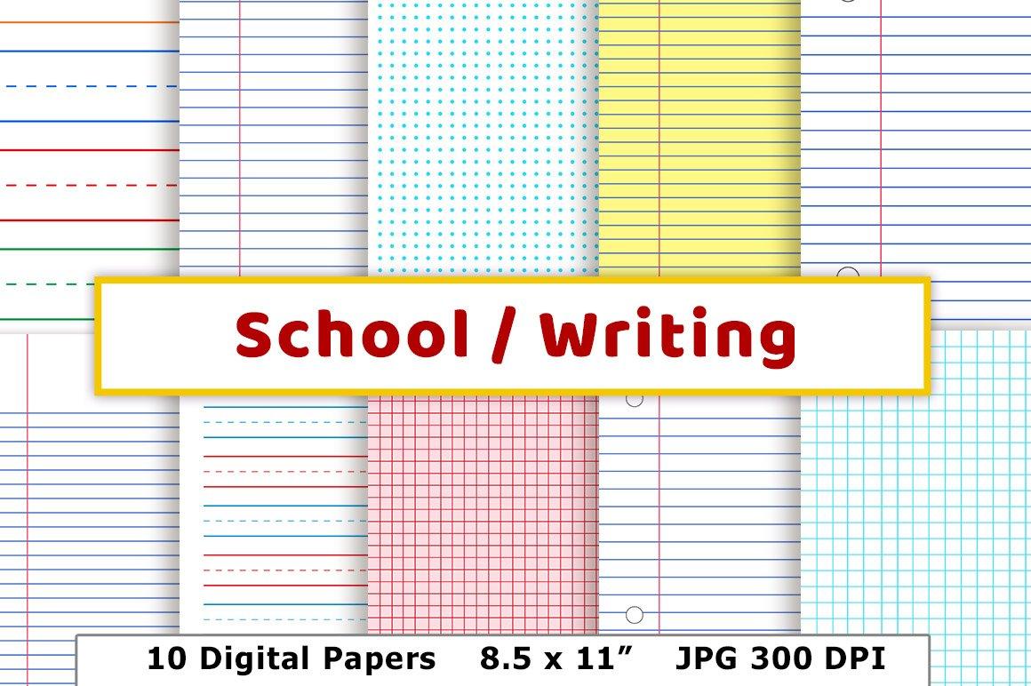 School writing lined digital paper