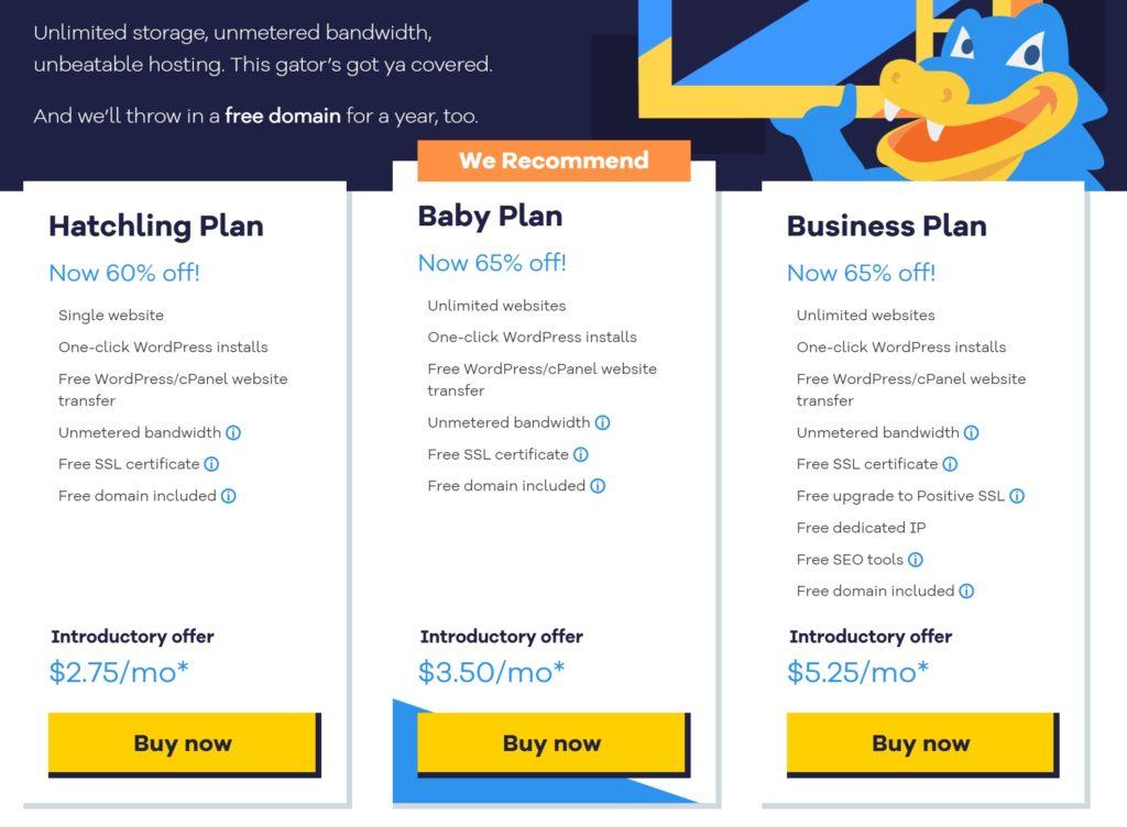 HostGator shared hosting promo pricing