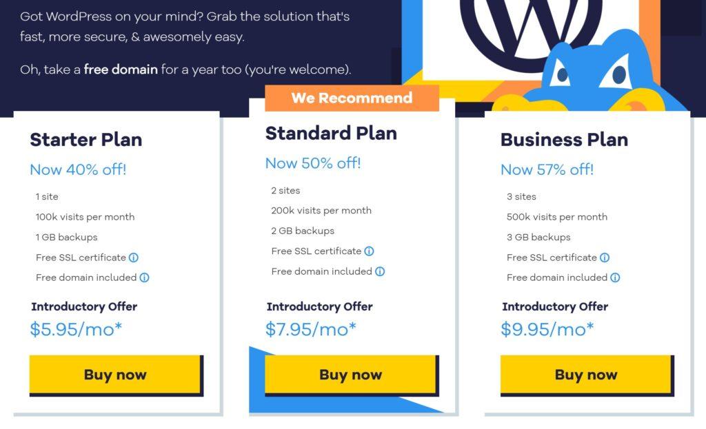 WordPress promo pricing at HostGator