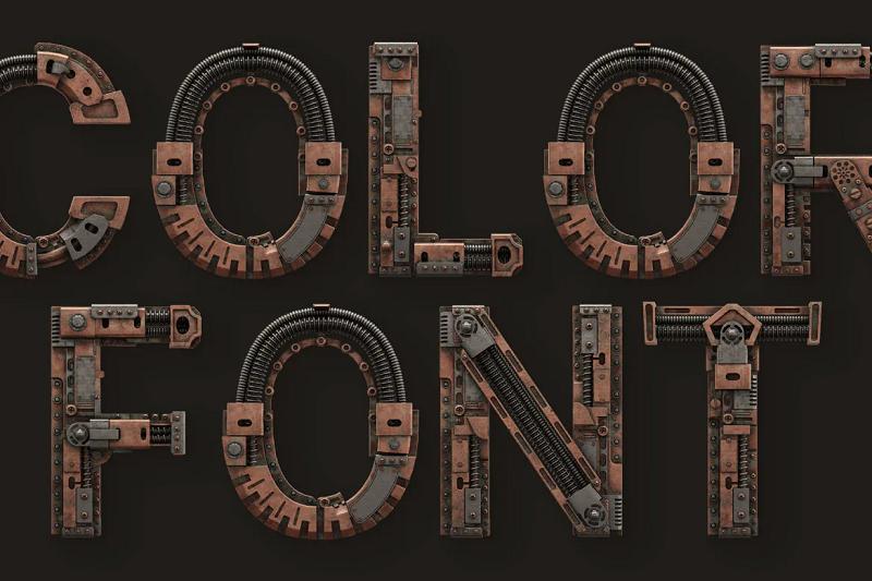 Steampunk 3D font